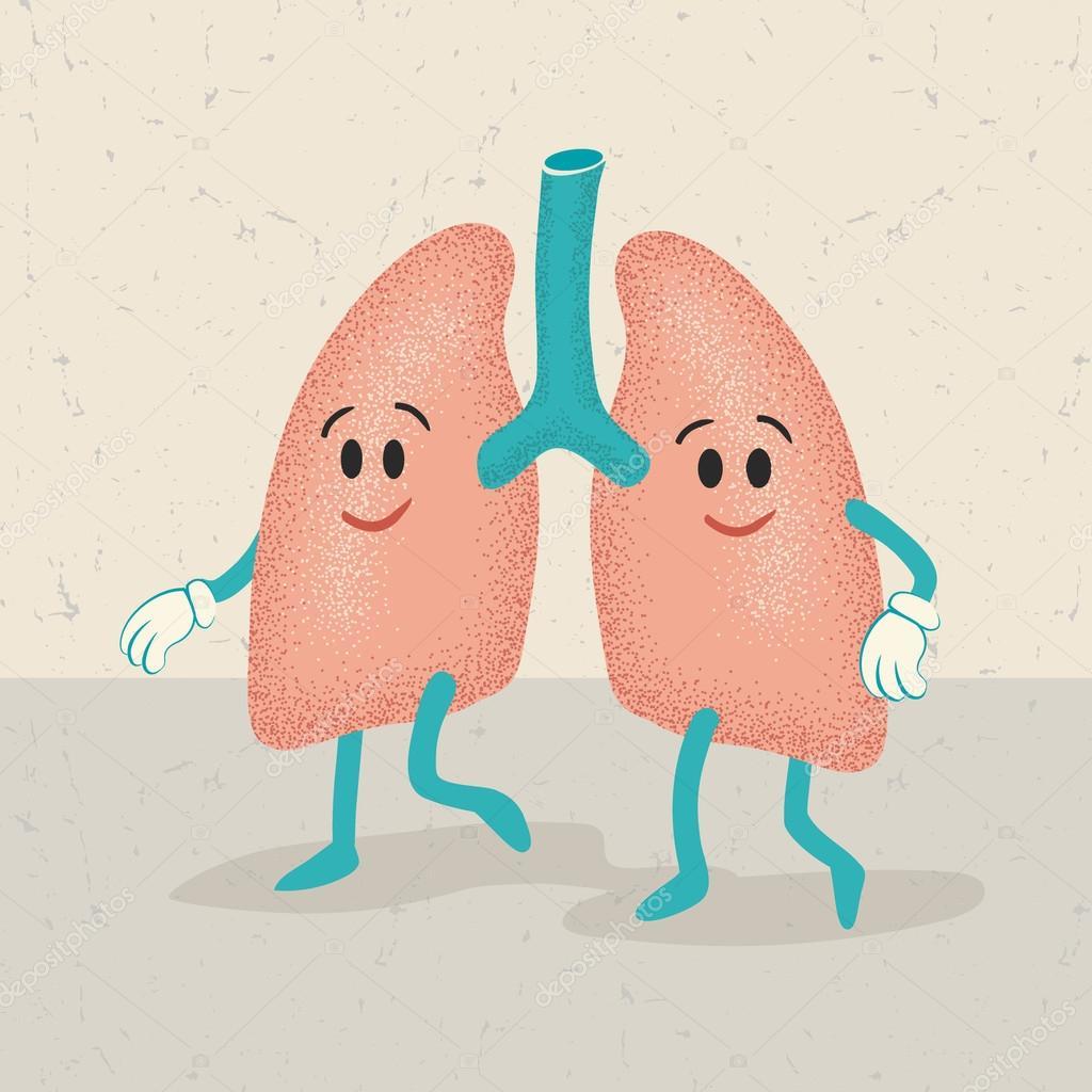 retro dibujos animados de personajes de los pulmones — Vector de ...