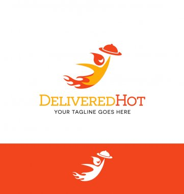 flame character logo for food delivery business