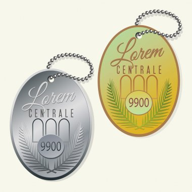key ring fob with ball chain vector design