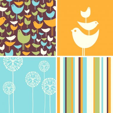 Coordinating spring patterns and design elements with retro birds, flowers, stripes