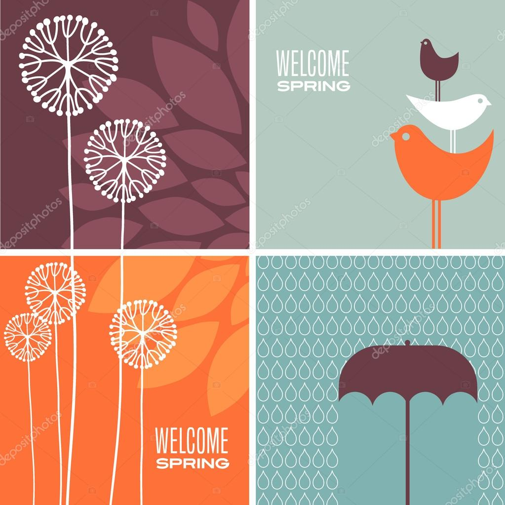 Coordinating spring designs for greeting cards, banners, stationary