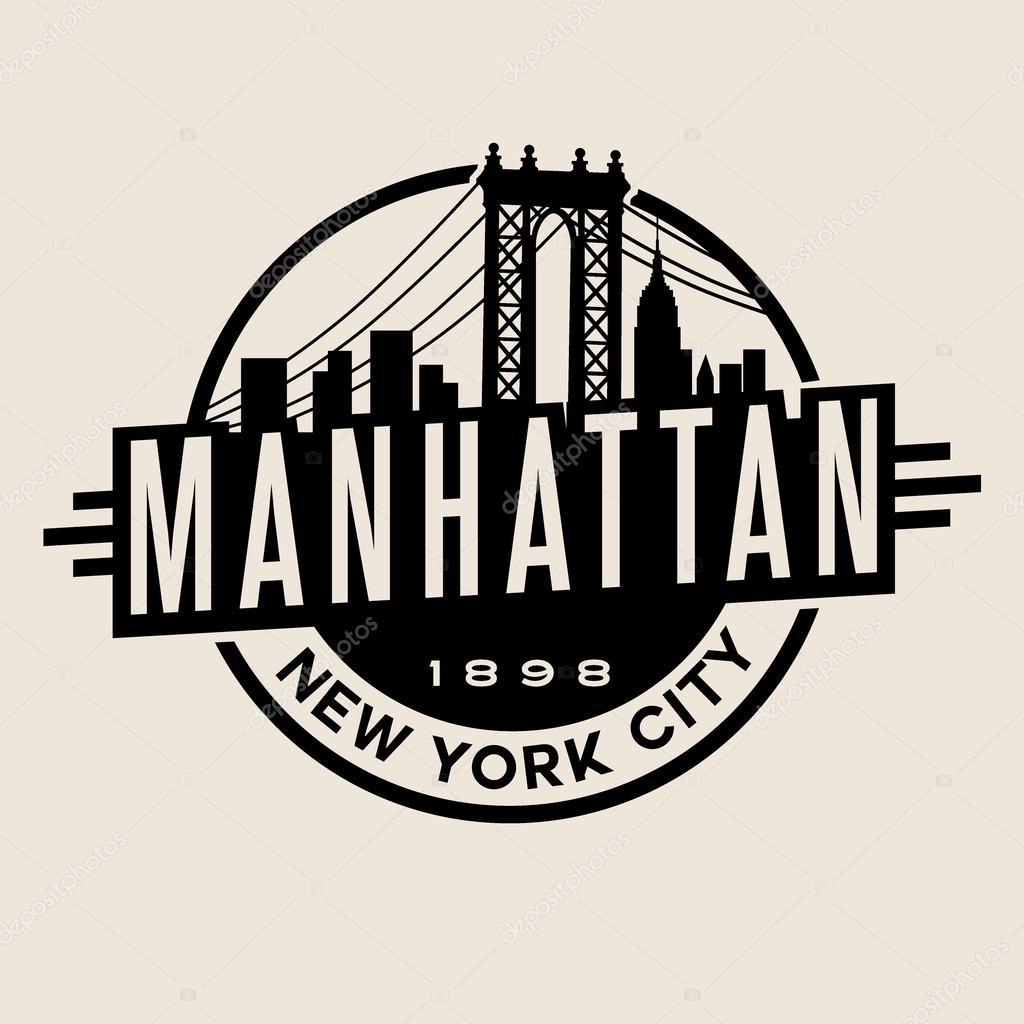 Vintage t-shirt sticker emblem design. Manhattan New York City and  Manhattan Bridge and 95e0dad8e52