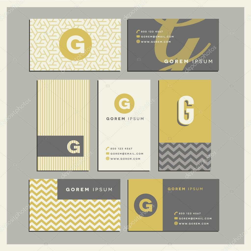 Set Of Coordinating Business Card Designs With The Letter G Stock Vector