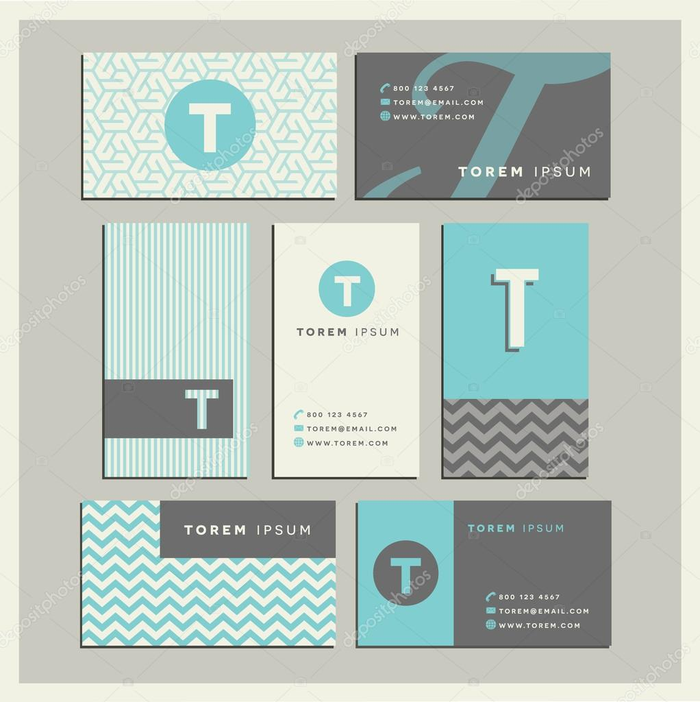 Set Of Coordinating Business Card Designs With The Letter T Stock Vector 99977112