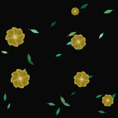 beautiful composition with simple colored flowers and green leaves at monochrome background, vector illustration