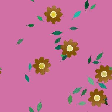 Blossom foliage, flowers bloom wallpaper, vector illustration.