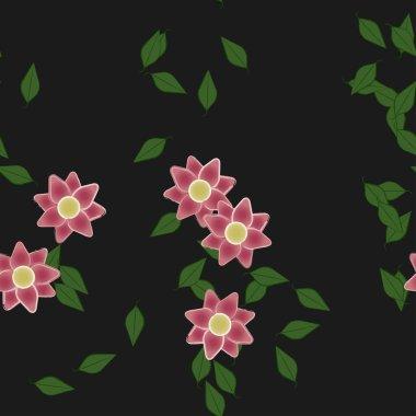 """Картина, постер, плакат, фотообои """"абстрактные цветы и листья бесшовный фон, векторная иллюстрация сирень природа лилии"""", артикул 426688326"""
