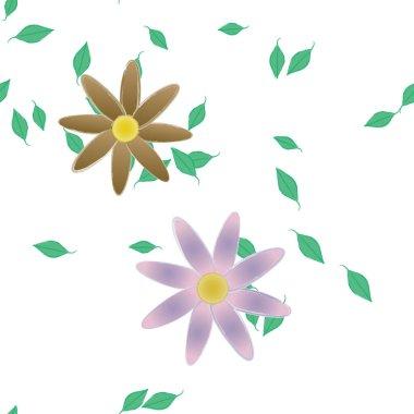"""Картина, постер, плакат, фотообои """"свободная композиция с простыми красочными цветами и листьями для обоев, векторная иллюстрация ирисы белые герберы художники"""", артикул 430905488"""