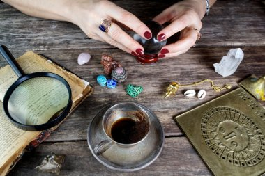 Fortune teller woman predicting future from cards
