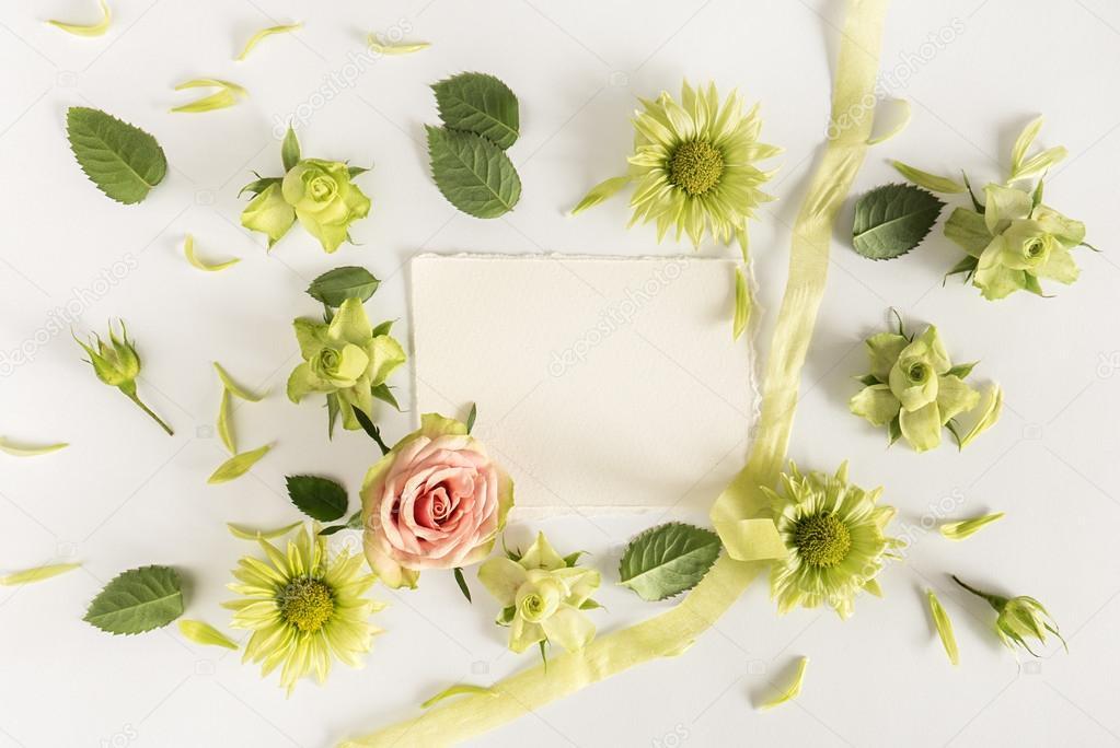 Marco Con Rosas, Flores Verdes Y Hojas Sobre Fondo Blanco