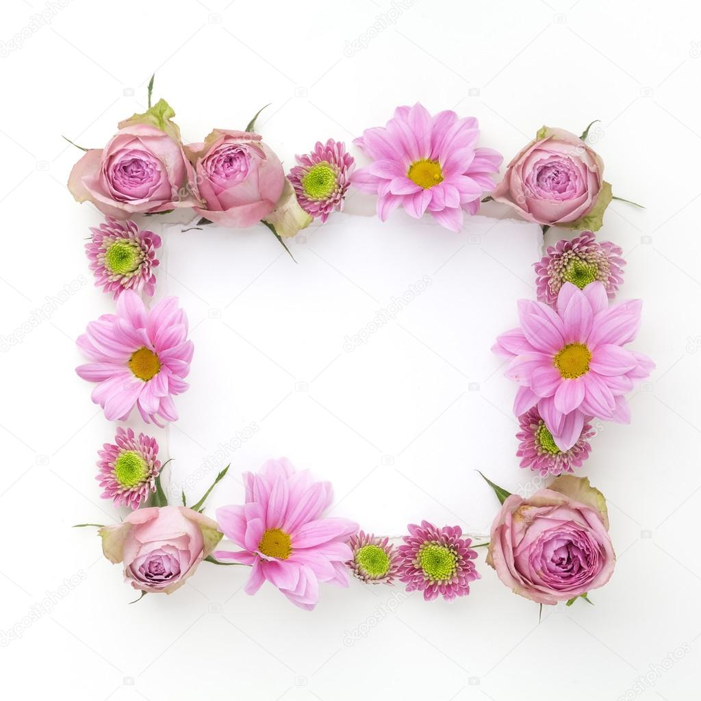 Pink Flowers Frame With Space For Text Flat Lay Top View Stock