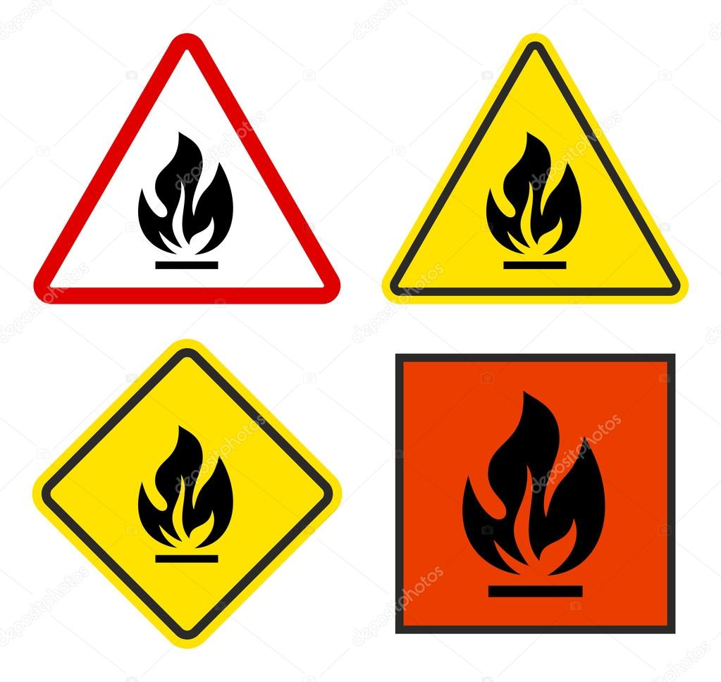 Set of warning signs flammable stock vector gt29 116412274 set of warning signs flammable stock vector buycottarizona