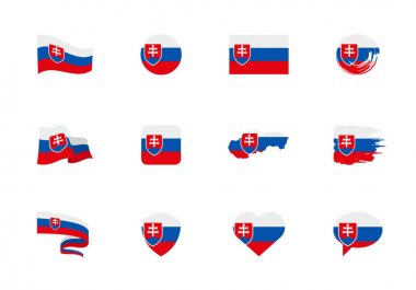 Slovakia flag - flat collection. Flags of different shaped twelve flat icons. Vector illustration set icon