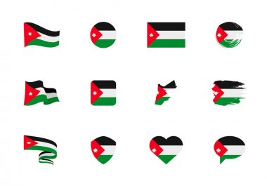 Jordan flag - flat collection. Flags of different shaped twelve flat icons. Vector illustration set icon