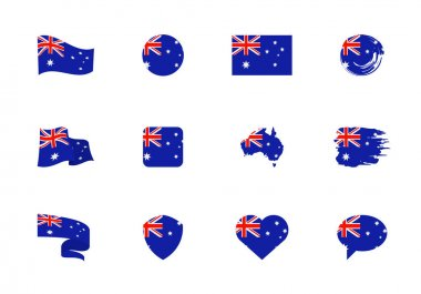 Australia flag - flat collection. Flags of different shaped twelve flat icons. Vector illustration set icon