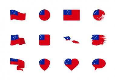 Samoa flag - flat collection. Flags of different shaped twelve flat icons. Vector illustration set icon