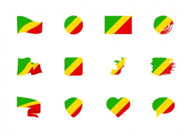 Congo flag - flat collection. Flags of different shaped twelve flat icons. Vector illustration set icon