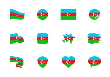 Azerbaijan flag - flat collection. Flags of different shaped twelve flat icons. Vector illustration set icon
