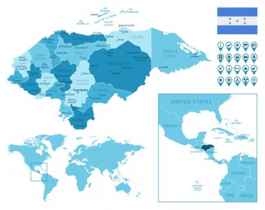 Honduras detailed administrative blue map with country flag and location on the world map.