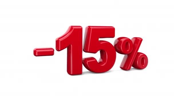 Patnáctiprocentní sleva na bílé pozadí, speciální nabídka, skvělá nabídka, prodej. 15 procent SLEVA jasně červený text na bílém. 3D animace s alfa kanálem