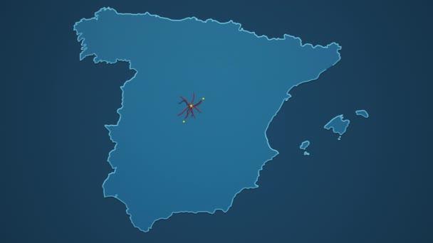 Açık mavi İspanya haritası, şehirleri, yolları ve demiryolları koyu mavi arka planda..