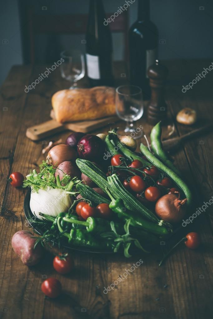 Different vegetables on wooden table