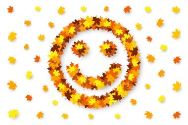 Funny happy smiling face is made from maple leaves over white background. Concept of autumn good mood, discounts and sales, decoration for seasonal sale, advertising and promotional banner icon