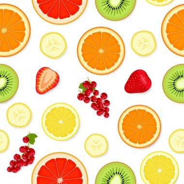 Seamless pattern with fruit and berries