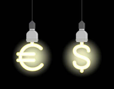 Energy saving lamps in form of euro sign and dollar sign