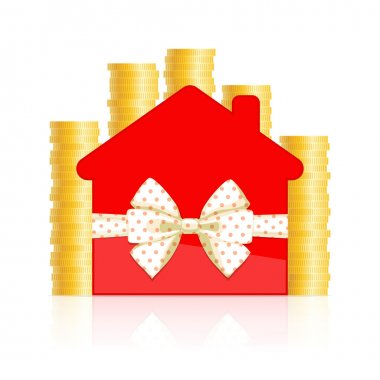 Red house icon with bow and coins