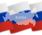Obrysy Ruska na pozadí národní vlajka