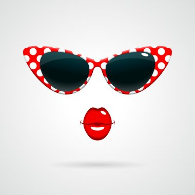 Vintage sunglasses and red lips
