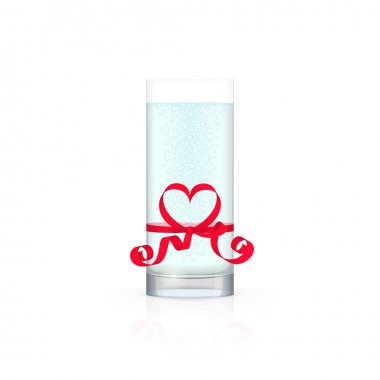 Glass of water with red ribbon
