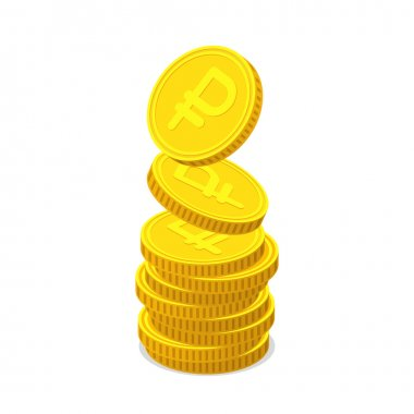 Gold coins with russian ruble sign