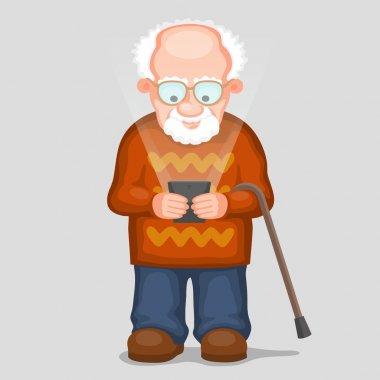Elderly man and modern phone