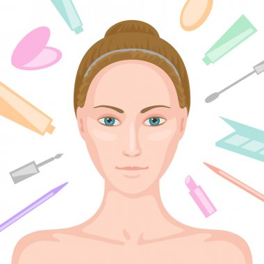 Woman without make-up and various cosmetics around