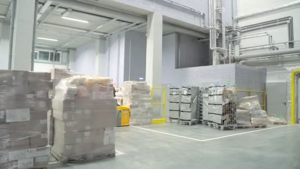 two guys on loaders move around the warehouse