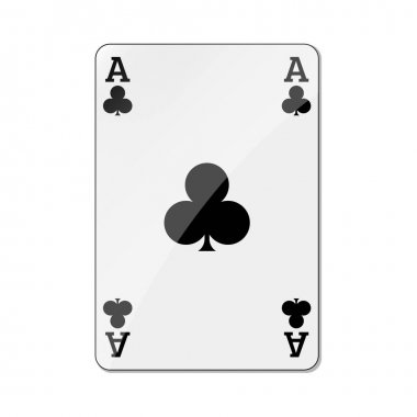 Black clover ace playing card icon. Poker gambling casino game sign. Vector illustration. icon