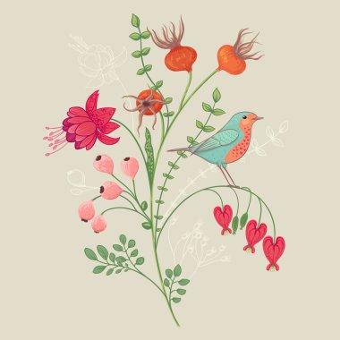 Botanical illustration with bird