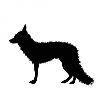 Vector silhouette of fox on white background. icon