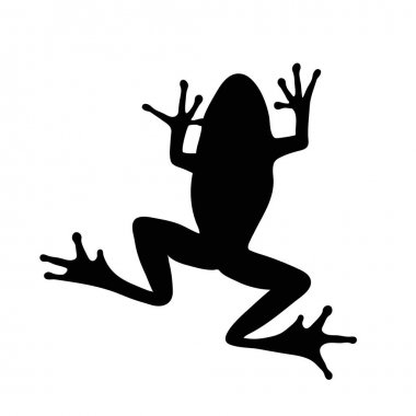Vector silhouette of frog on white background. icon