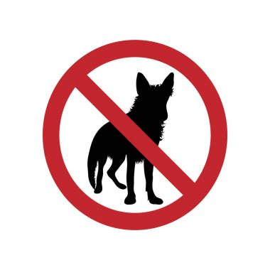 Dog ban mark on a white background. icon