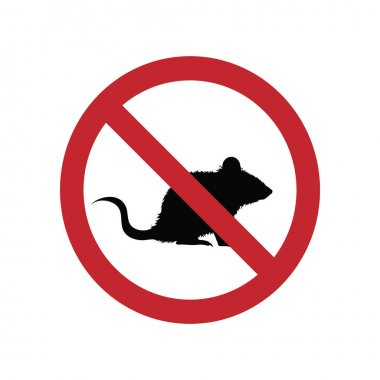 Mouse ban mark on a white background. icon