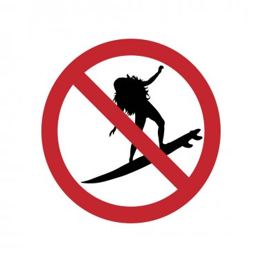 Prohibited surfing ban mark on a white background. icon