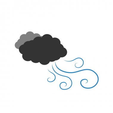 Symbol of a dark cloudy with wind. Vector illustration on a white background. Cartoon of clouds and windy. icon