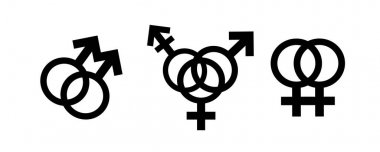 Homosexual, bisexual transgender, transsexual symbol. Vector silhouette on white background. Illustration set of lesbian and gay icon. icon