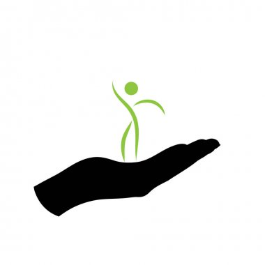 Illustration of people care icon. Vector silhouette on white background. Symbol of healthy. icon