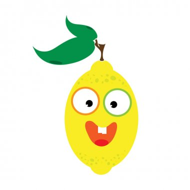 Painted vector illustration of happy lemon with eyes and mouth on white background. Symbol of fruit, food,vegetarian,vegan. icon