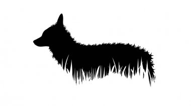Illustration of fox icon in the grass. Vector silhouette on white background. icon