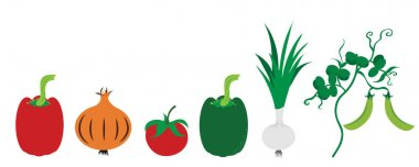 Painted vector illustration of vegetable on white background. Symbol of pepper, onion,tomate,pea, food,vegetarian,vegan. icon